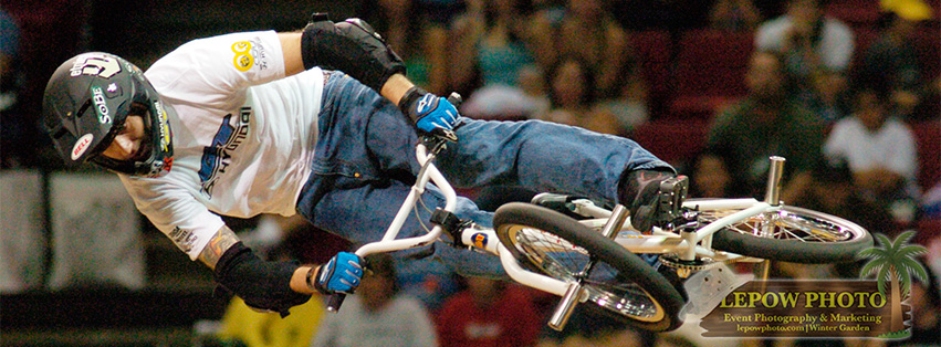 """Portion of the photo caption supplied to the Orlando Sentinel, """"Sunday, October 16, 2005 Orlando, Fl. After winning the finals during his first run, Jamie Bestwick of Nottingham, Great Britain rides a """"Victory Lap"""" of sorts on his 2nd run in the BMX Vert finals during the Dew Action Sports Tour on October 16, 2005 at TD Waterhouse Centre..."""" Photo: Mark Lepow"""