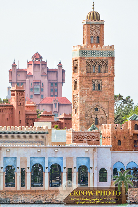 Morocco minaret and Tower of Terror during the day. Photo: ©2014 Mark Lepow